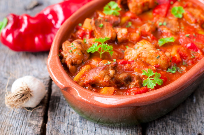 Mediterranean stew with beef and peppers