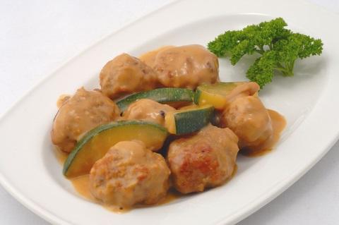 Meatballs with mushroom sauce.