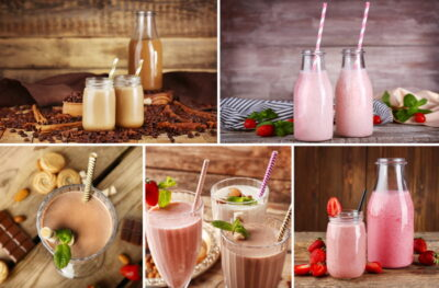 Collage of delicious milk shakes