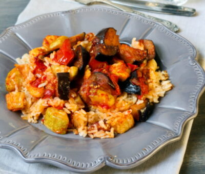 Eggplant recipe with tomatoes and peppers