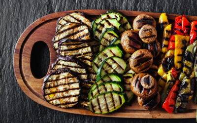 grilled vegetables with ginger and sesame