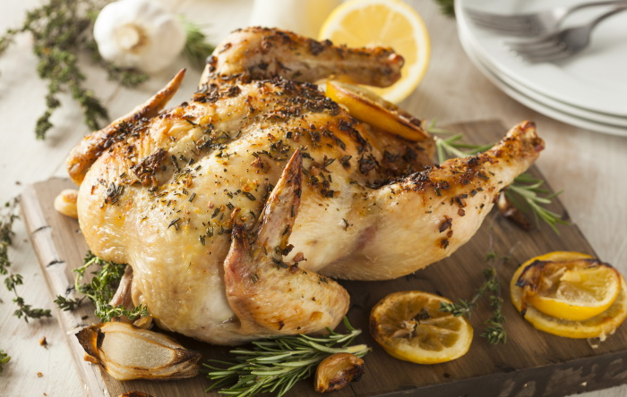 Chicken roasted with lemon and herbs