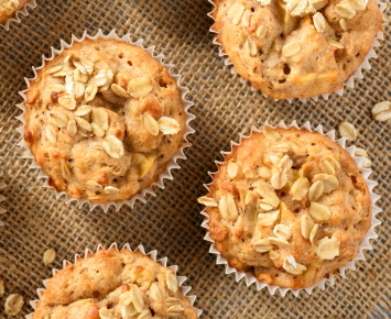 Closeup of Apple Oatmeal Muffins
