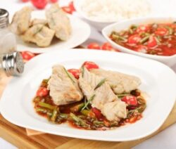 Flounder recipe baked with vegetables