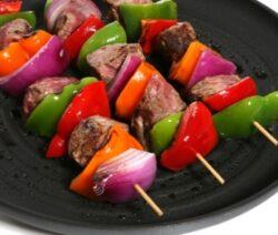 Grilled beef kabobs.