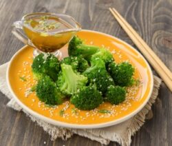 marinated broccoli with miso dressing