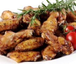 Chicken wings with soy sauce.