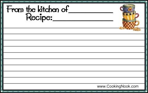 free recipe template download