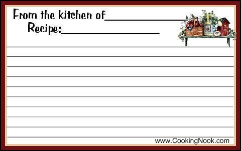 free printable recipe card template Quotes