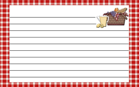 Recipe Card Gingham