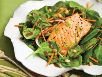 Spinach Salad Recipe with Salmon and Sesame-Peanut Dressing